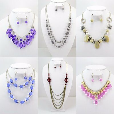 100 PC (50 Sets)WHOLESALE LOT COSTUME FASHION JEWELRY NECKLACE EARRINGS SET