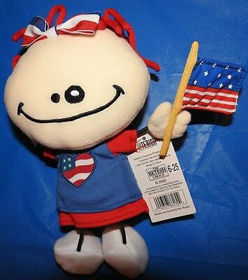 "AVON Girl Doll I Wanna Be Patriotic Red White and Blue Plush Beanie 9"" NWT"