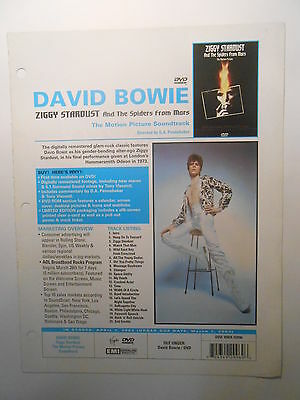★☆ DAVID BOWIE 2016 ☆★ ZIGGY STARDUST : USA promo sheet for the DVD