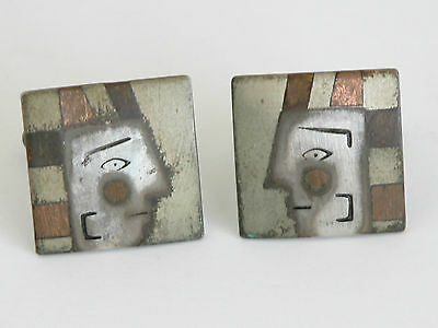 Rare Vtg Metales Casados Art Mexico Brass Copper Aztec Cufflinks Egyptian