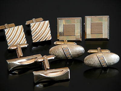 Vtg Mid Century Modern Art Deco Cuff Links SWANK Cufflinks LOT Gold Tone 4 SETS