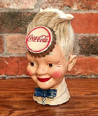 Cast Iron Coca-Cola Soda Boy Head Vintage Coin Bank
