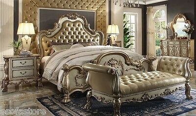 Formal Luxury Antique King 5 Pc Traditional Dresden Gold Bedroom set #23157