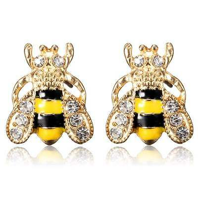 Lovely Gold Plated Crystal Insect Small Bee Stud Earrings For Women