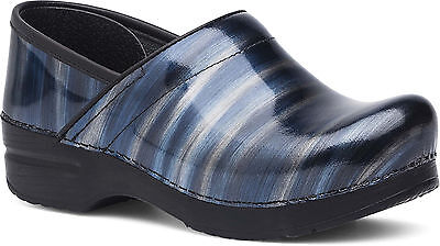 Dansko PROFESSIONAL Womens Silver Blue Stripe Patent Slip On Clogs Shoes
