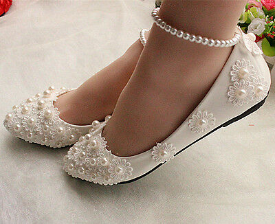 White lace Wedding shoes pearls ankle trap Bridal flats low high heels size 5-9