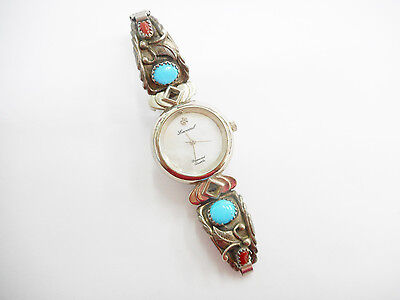 Robert Becenti Lucoral Sterling Silver Navajo Turquoise Coral Watch  #2421