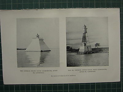 1913 Lighthouse Print ~ Batiscan River St Lawrence Isle St Therese Back Light