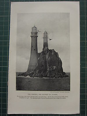 1913 Lighthouse Print ~ The Fastnet The Outpost Of Europe