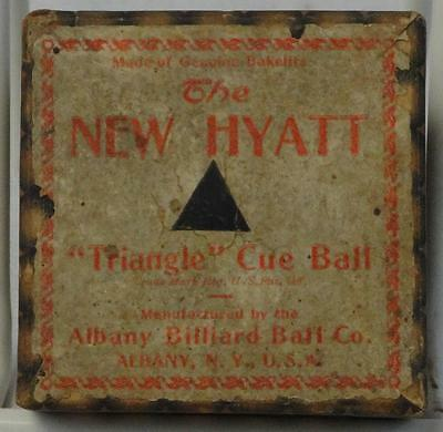 "Antique Albany Billiard Ball Co. ""New Hyatt"" Cue Ball 100% Bakelite Original Box"