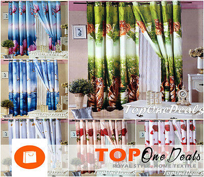 New Amazing Pair 3D Photo Print Curtains Ready Made Eyelet Ring Top