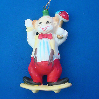 "Christmas ornaments clown on skateboard ceramic 3¾"" vintage 1980s"