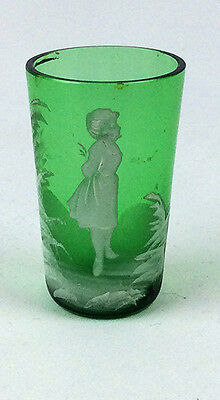 Antique Mary Gregory Bohemian art glass toothpick holder hand painted