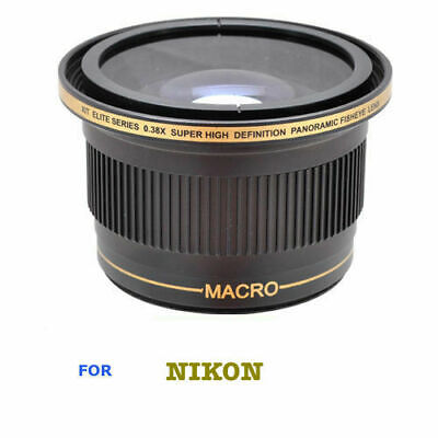 55MM X38 FISHEYE WIDE ANGLE LENS+ MACRO For NIKON D3400 WITH 18-55 AF-P LENS