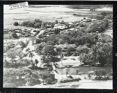 "Historic Aerial View Of Haleiwa Town & Hotel, 1920+? N. Oahu  On 8X10"" Mat"