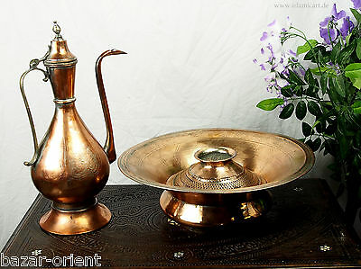 antik Kupfer Waschgarnitur Afghanistan antique copper Ewer Pitcher & Basin set 2