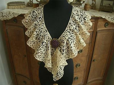 LG REFINED HANDMADE Antique Vtg ITALIAN CANTU BOBBIN LACE BERTHA COLLAR