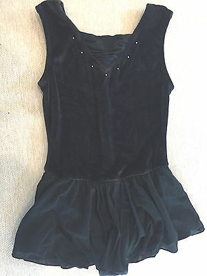 Girls Freestyle DANSKIN Black Velour w/ Skirt Dance Gym LEOTARD Sz M 7~8
