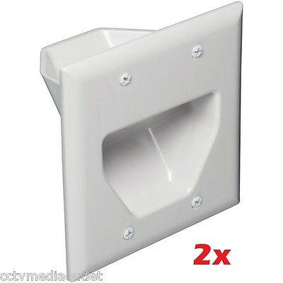 2x 2 Gang Recessed Double Size Bulk Cable/Wire Wall Plate Low Voltage  White