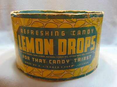 Rare 1930's-40's Original Brach's LEMON DROPS Large Round Box