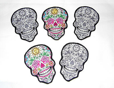 SALE Sugar Skull Patch DIY Iron On Fabric Appliques T-shirt craft Tattoo Baby