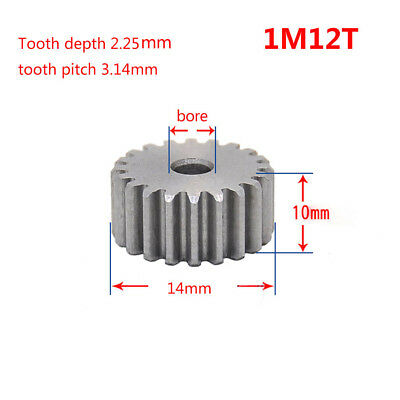 1 Mod 12T Spur Gear Motor Gear 45# Steel Thickness 10mm Outer Dia 14mm x 1Pcs