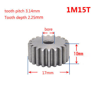 1 Mod 15T Spur Gear 45# Steel Pinion Gear Thickness 10mm Outer Dia 17mm x 1Pcs