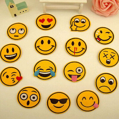 7pcs Funny Smiley Face Emoji Expression Iron on Sew on Patches Embroidered Badge