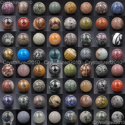 Natural Gemstone Round Ball Crystal Healing Sphere Massage Rock Stones 30mm 40mm