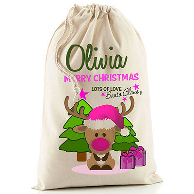 Cute Personalised Pink Girl Christmas Reindeer Santa Sack stocking gift bag Xmas