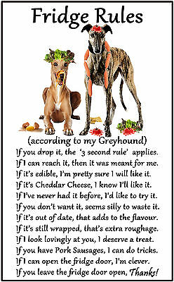 "Greyhound Dog Gift - Large Fridge Rules flexible Magnet 6"" x 4"""