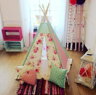 Handmade Floral Children's Teepee / Play tent / Matching Accessories Available