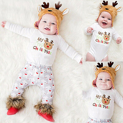 Baby Baby Mädchen Jungen 1st Christmas Strampler Oberteile Overall Outfits