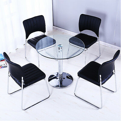 Round Glass Kitchen Dining Table w/ Chrome Leg Bistro Cafe Table Home Furniture