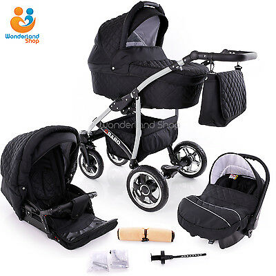 Baby Pram Buggy Stroller 3in1 Pushchair Car Seat Carrycot Travel System 10 COLS.