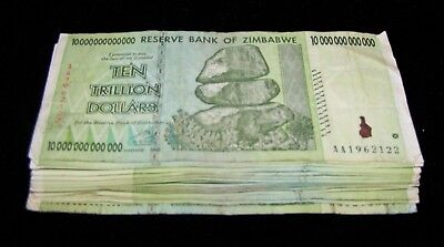 20 x Zimbabwe 10 Trillion Dollar banknotes- paper money currency 1/5 bundle