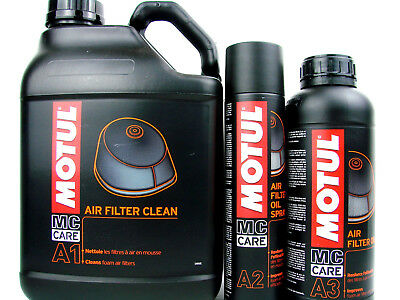 Luftfilterreiniger + Spray Motul Mc Care + Öl Set Luftfilter Set A1 + A2 + A3