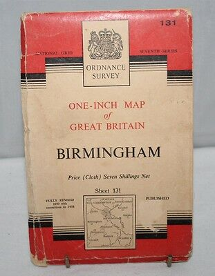 Ordnance Survey - One Inch Cloth Map - Birmingham - Sheet 131 - 1953
