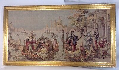 Antique TAPESTRY Venice Italy Boat Framed Woven Vintage Art Large Wall Hanging