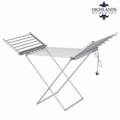 Electric Heated Clothes Airer Washing Drying Laundry Horse Rack Dryer Folding