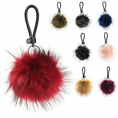 Faux Fur Keyring 15 CM Pompom Ball Soft Fluffy Charm Dangle keychain UK SELLER