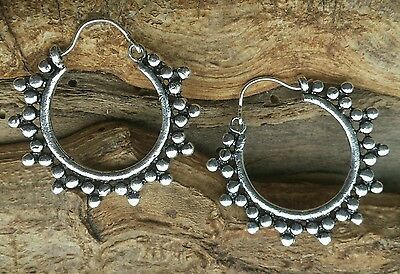 Small Silver Plated Tribal Ball Hoop Earrings - Boho, Ethnic, Tribal, Gypsy