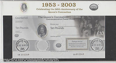 Gb Queen's Coronation 1953-2003 Commemorative £10 Postal Order Presentation Pack