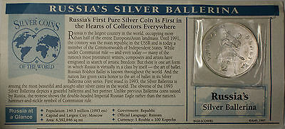 Silver Coins of the World 1993 Russia 3 Rubles Silver Ballerina Commemorate Coin
