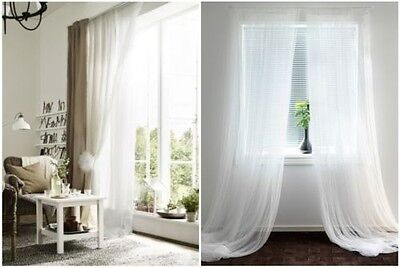 IKEA LILL Curtains Sheer White 2 Panels 110X98