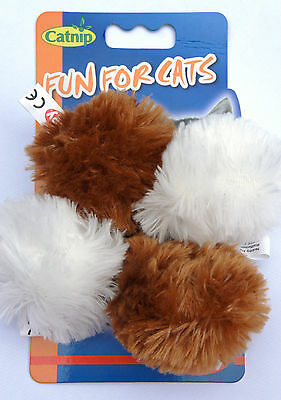 4 X Plush Cat Kitten Catnip Play Balls With Bell And Infused With Catnip 6Cm