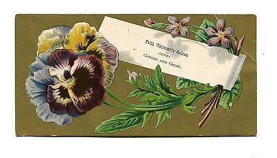 Victorian Trade Card FAITH WHITCOMB'S BALSAM Cough & Cold Cure pansy
