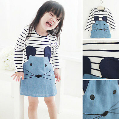 Toddler Girl Cute Mouse One-piece Outfits Clothes T-shirt Tops Dress Denim Skirt