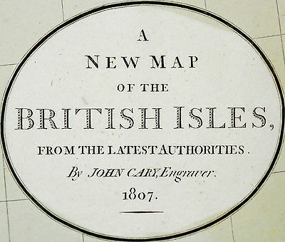 1807 Large Antique Map Chart John Cary British Isles Hand-Color Folio