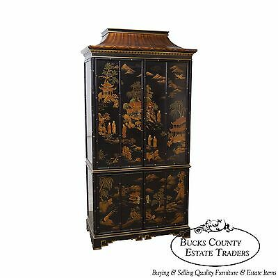 Drexel Et Cetera Black Chinoiserie Painted Pagoda Top TV Cabinet